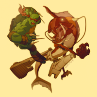 Raph and Fishface by Mikuloctopus