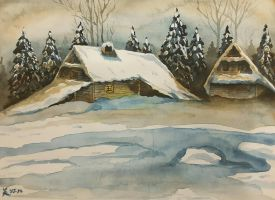 Wooden cottage in the snow by MirielVinya