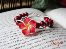 Polymer clay bracelet with red flower by Benia1991