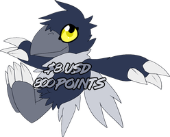 [A] hooded crow digimon [SOLD] by glitchgoat