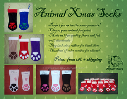 COMMISSIONS OPEN! Xmas Animal Socks by Ishtar-Creations