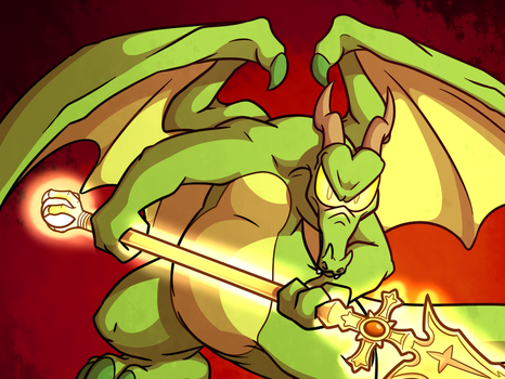 Dragon With The Golden Spear (Cropped) by TheUnisonReturns