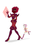 Red Tanzanite and Rosaline Pearl by PencilTree