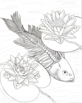 Koi Fish Skeleton with Flowers