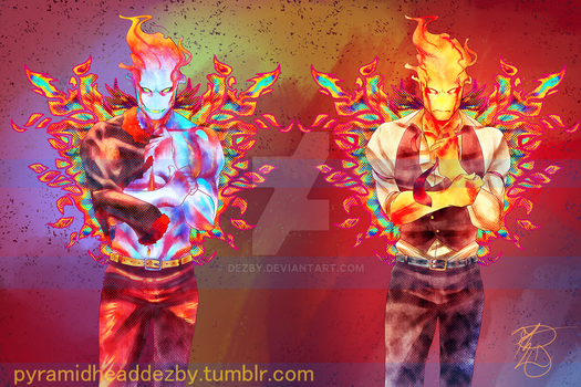 Grillby Standees (in Etsy Shop) by Dezby