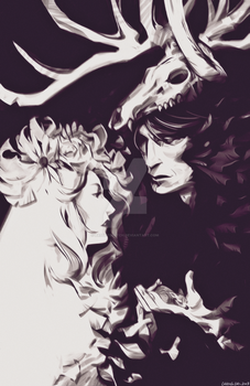 Hannibal and Bedelia as Old Forest Spirits by BASSETSKETCH