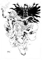 Supergirl Starfire and Raven by Leomatos2014