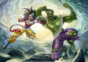 Unsparing Beasts -Goku vs Hulk- by spiritualfeel