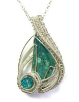 Chrysocolla Pendant in Sterling S with Crystal by HeatherJordanJewelry