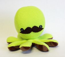 Lime green octopus plush with mustache by jaynedanger