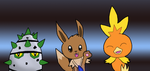 Eevee, Torchic, and Ferroseed by Meowstic-45