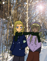 Alk and Mijam walking in the Winter-lands by Reinohikari