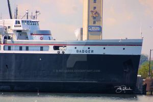 The S. S. Badger coming into Ludington Harbor. by B-Richards