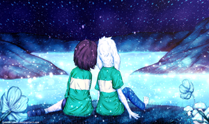 Chara and Asriel in Waterfall by GabrielPMN1