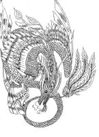 Lineart: four-winged dragon by kxeron