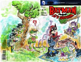 Sketch Cover a Bunch of Batgirls and Robins by mannycartoon