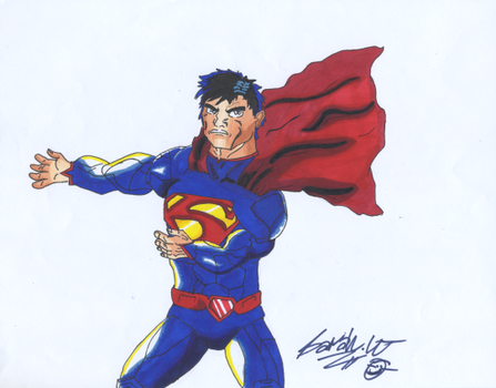 My first Superman drawing. by lizardlaser