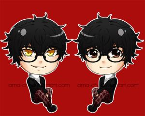 Persona 5 MC Chibis by ama-chii