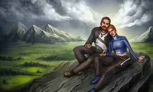 Commision. Pair on the hill by KatreShka