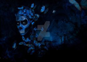 Blue Butterfly Scull by EligoDesign