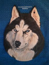 cutting Board in the kitchen husky by ElizavetaGorojankina