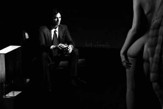 Ian Somerhalder in the style of 50 shades of gray by ToriaChernenko