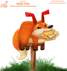 Daily Paint 2045# Mail Fox by Cryptid-Creations