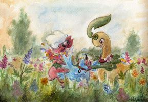 Field of flowers by ShrubSparrow