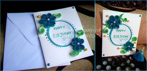 Happy Birthday Quilled Card by areemus