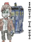 11th Doctor Chibi with TARDIS by piratequeenneverland