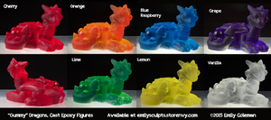 Gummy Dragons, Cast Epoxy Figures by emilySculpts