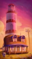 Lighthouse Painting by Curly-Artist