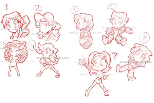 Possible Sticker Sketches by StaticBlu