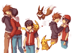PKMN: Red and Green sketches by Anyarr