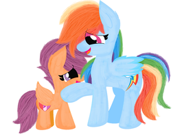 Rainbow and scootaloo by xMiracleBlue