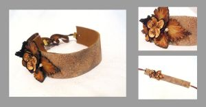 Leather choker. Floral by julishland