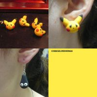Pikachu and Wobbuffet Earrings