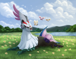 Meadow Lounging - Silvally and Cutieflies