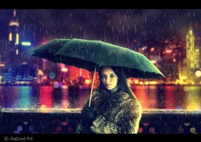 rain in the city by ZedLord-Art