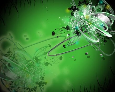 Green Techno Abstract Wallpape by obreakdanceo