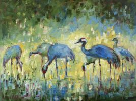 Blue cranes 1 by krukart
