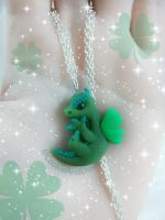 St. Patricks Day Dragon Pendant With Clover Wings by CookieAndDinos