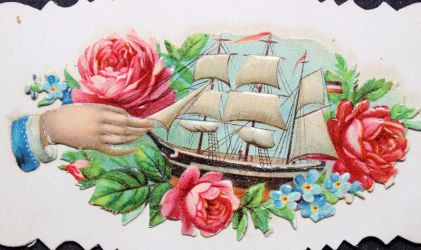 Victorian Calling Card - Model Ship by Yesterdays-Paper