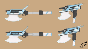 'Atlas and Axis' - RWBY OC Weapon (Commission) by DenalCC1010