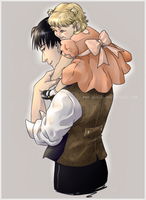 On Daddy's shoulders by Ciorane