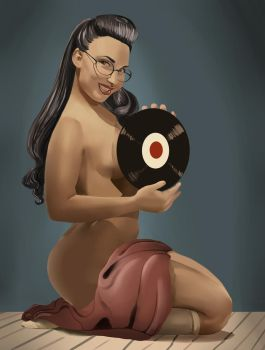 Jade Pinup with Record by Thatonegirludontknow