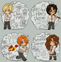 Draco Harry Ron and Hermione by Kinky-chichi