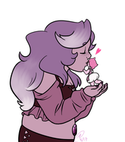 Amethyst kissing Halite by Strabius
