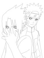 Sasuke and Naruto Lines by Warbaaz1411