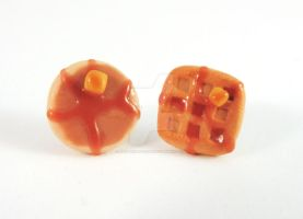 Yummy Pancake and Waffle Breakfast Earrings by mAd-ArIsToCrAt
